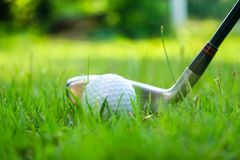 Golf ball and golf club in beautiful golf course at Thailand. Collection of golf equipment resting on green grass with green. Golf ball and golf club in stock photo