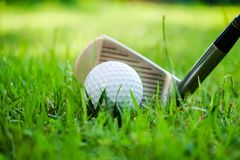 Golf ball and golf club in beautiful golf course at Thailand. Collection of golf equipment resting on green grass with green. Golf ball and golf club in royalty free stock photography