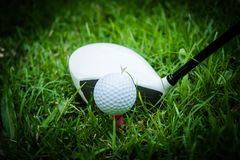 Golf ball and golf club in beautiful golf course at Thailand. Collection of golf equipment resting on green grass with green. Golf ball and golf club in royalty free stock image