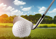 Golf ball, club and the golf course Royalty Free Stock Images