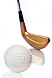 Golf ball and club with reflection Stock Images