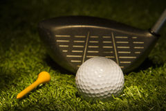 Golf Ball with Club and Tee Stock Image