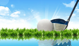 Golf ball on course in front of driver Royalty Free Stock Image