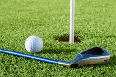 Golf ball on the course Stock Images