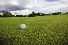 Golf ball on the course. Green grass, blue sky and white clouds Royalty Free Stock Photography
