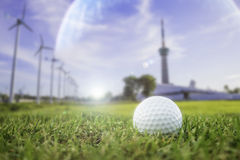 Golf-ball on course. Illustration Or general background Stock Photo