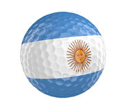 Golf ball 3D render with flag of Argentina, isolated on white Royalty Free Stock Photography