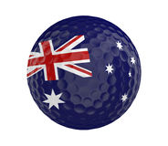 Golf ball 3D render with flag of Australia, isolated on white. 3D rendered golf ball with the flag of Australia, isolated on a white background Stock Images