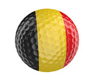 Golf ball 3D render with flag of Belgium, isolated on white Royalty Free Stock Photography