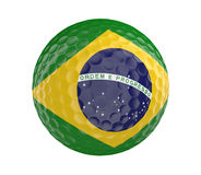 Golf ball 3D render with flag of Brazil, isolated on white. 3D golf ball with the flag of Brazil, isolated on a white background Royalty Free Stock Image