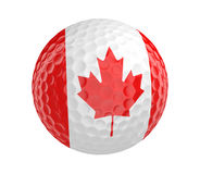 Golf ball 3D render with flag of Canada, isolated on white. Golf ball 3D render with the flag of Canada, isolated on a white background Royalty Free Stock Photos