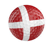 Golf ball 3D render with flag of Denmark, isolated on white Royalty Free Stock Photo