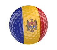 Golf ball 3D render with flag of Moldova, isolated on white Stock Photo