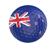 Golf ball 3D render with flag of New Zealand, isolated on white Royalty Free Stock Photos