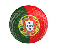 Golf ball 3D render with flag of Portugal, isolated on white Royalty Free Stock Photos
