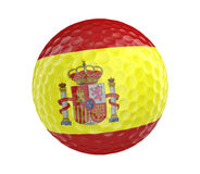Golf ball 3D render with flag of Spain, isolated on white Royalty Free Stock Photography