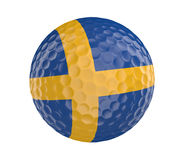 Golf ball 3D render with flag of Sweden, isolated on white Royalty Free Stock Photos