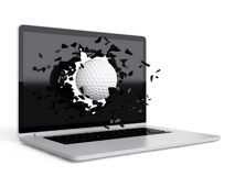Golf ball destroy laptop Royalty Free Stock Photos