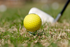 A golf ball and driver Royalty Free Stock Photography
