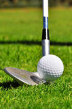 Golf ball and driver. Ready to strike, on a real golf course Royalty Free Stock Photos