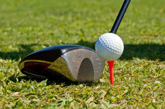 Golf ball and driver. Ready to strike, on a real golf course Stock Photos