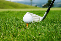 Golf ball and driver with focus Royalty Free Stock Image