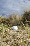 Golf ball in dunes 3. Lost golfers ball centred (centered) in shot of grassy dunes. A nice walk spoiled Stock Photography