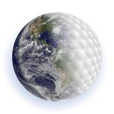 Golf ball and earth Stock Photo