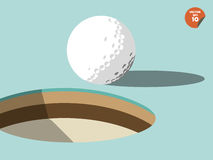 Golf ball on edge of hole design, golf design Royalty Free Stock Images