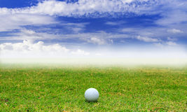 Golf ball in fairway on blue sky background Royalty Free Stock Photography