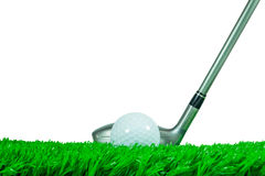 Golf ball and fairway wood on grass Stock Photo