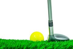 Golf ball and fairway wood on grass Stock Photography