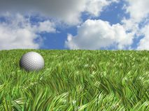 Golf ball field. A 3d golf ball in a green field Royalty Free Stock Photo
