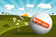 Golf Ball on Field with Sun and Sky Royalty Free Stock Image