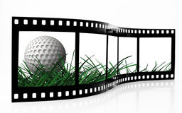 Golf Ball film strip. Over white Royalty Free Stock Photo