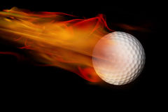Golf Ball on Fire. On black background Stock Images