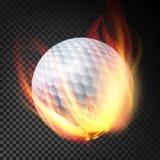 Golf Ball On Fire. Burning Style. Illustration Isolated On Transparent Background Royalty Free Stock Image