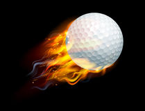 Golf Ball on Fire. A flaming golf ball on fire flying through the air Royalty Free Stock Images