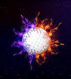 Golf ball on fire Stock Image