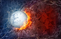 Golf ball in fire and water. Golf ball on fire and water with lightening around on abstract polygonal background. Horizontal layout with text space Royalty Free Stock Images
