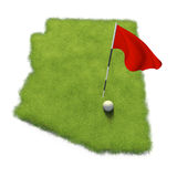 Golf ball and flag pole on course putting green shaped like the state of Arizona. White golf ball and a red flag pole on a grassy course putting green shaped royalty free illustration