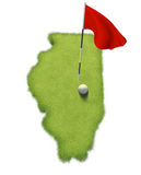 Golf ball and flag pole on course putting green shaped like the state of Illinois Royalty Free Stock Photos