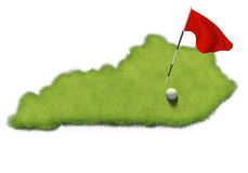 Golf ball and flag pole on course putting green shaped like the state of Kentucky Stock Photos