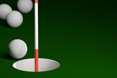 Golf Ball with Flagstick at Hole Background, 3D Rendering Stock Photography