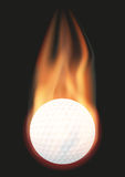 Golf ball with flame Royalty Free Stock Photography