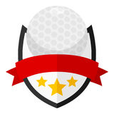 Golf Ball Flat Logo with Ribbon on White Royalty Free Stock Photography