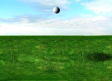 Golf ball flying Royalty Free Stock Images