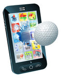 Golf ball flying out of mobile phone stock illustration