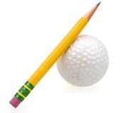 Golf ball game with pencil Royalty Free Stock Photo