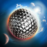 Golf ball globe with sun and moon Royalty Free Stock Photography